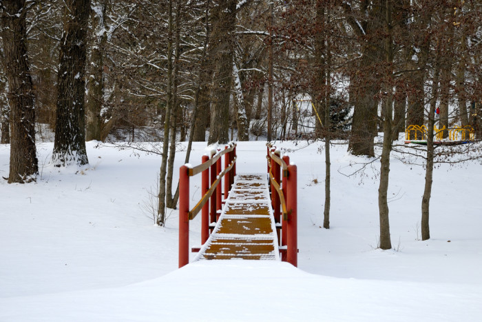 10. Snow makes this bridge in Chautauqua Park in Beatrice really stand out.