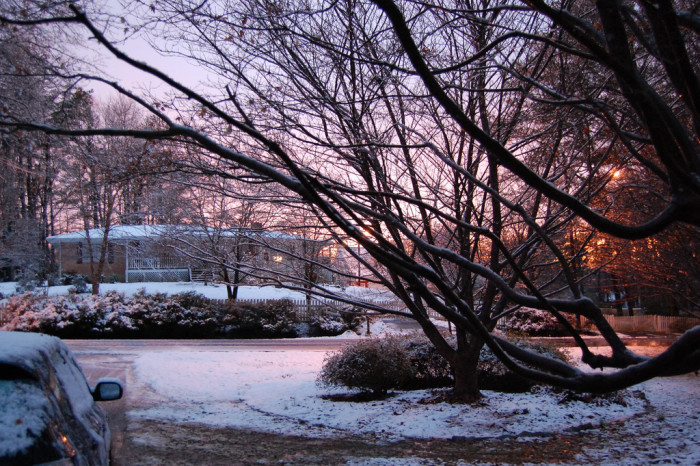 6. Snowy Sunset in Stone Mountain, GA - March 1, 2009