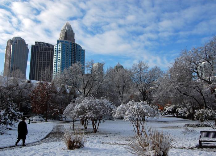 5. A snowy city.