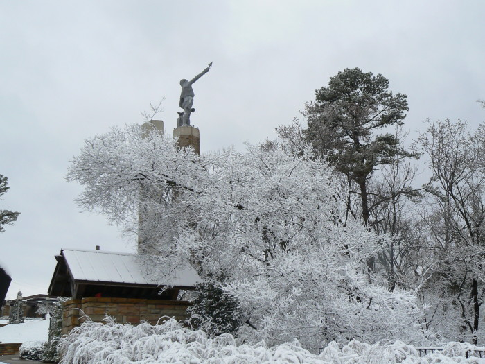 10. This photo was captured in Birmingham at Vulcan Park & Museum shortly after a snowfall in March 2009.