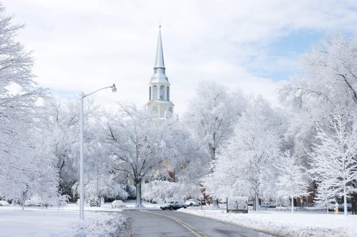 2. A snow-covered campus.