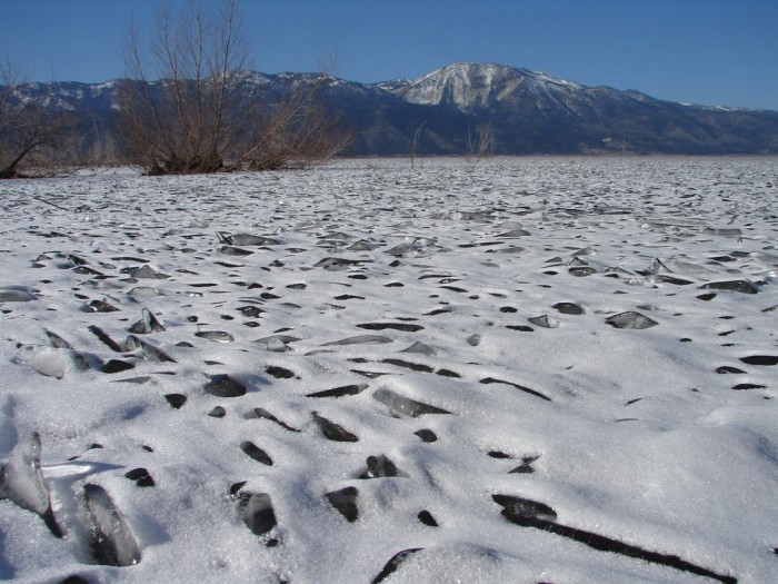 7. A lovely view of Washoe Lake after it's been covered in ice. Slide Mountain is in the background.