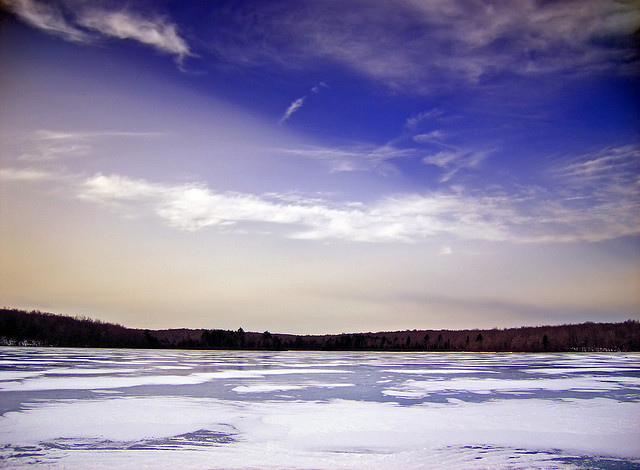 4. Tobyhanna Lake is frozen in this photo, and seems to reflect the cold blue winter sky.