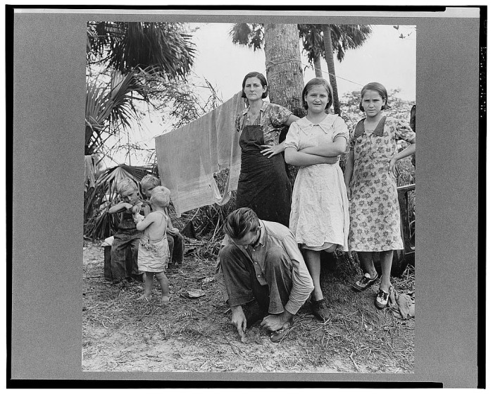 Migrant laborer's family, packing house workers. Canal Point, Florida
