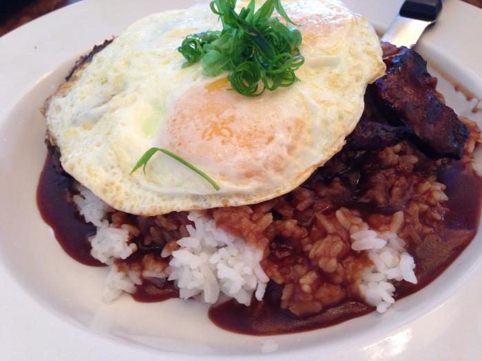 4) Hamburger Steak + Rice + Egg + Gravy = Loco Moco