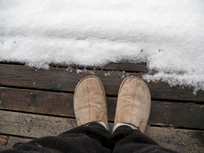 4.Walked to the mailbox in your slippers in the snow.