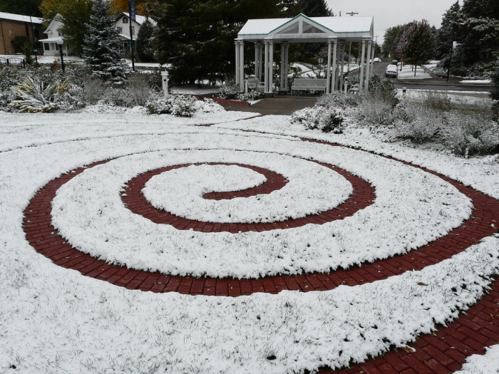 7. The first snow of the year at Hamann Rose Garden in Lincoln.