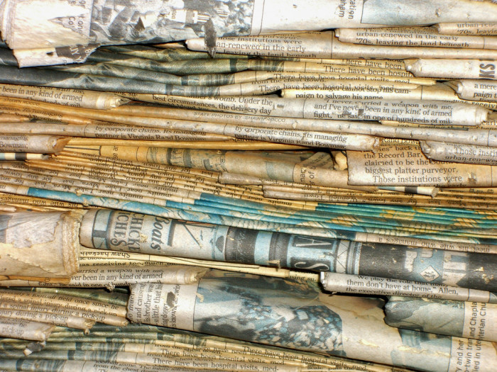 10) A pile of old newspapers for next year's crab feasts.
