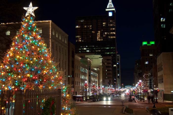 2. Downtown Raleigh all aglow in Christmas lights and Christmas cheer.