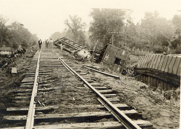 5. The aftermath of a devastating train wreck on the Rock Island Railroad in Homestead in 1915.