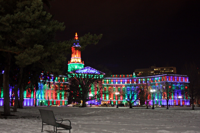 10. A chilly, clear night at the City & County Building.