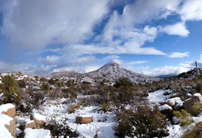 15. Here's a look at snow-covered mountains near Roosevelt Lake.