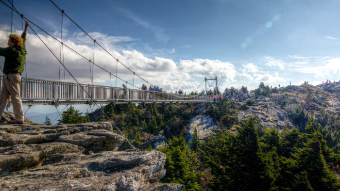 1. Walk across the Mile High Swinging Bridge at Grandfather Mountain.