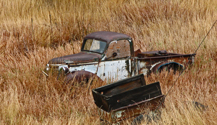 "2. ""I spotted the rusting pickup along the Switzerland Trail and think it's an International [sic] at least 60 years old."""