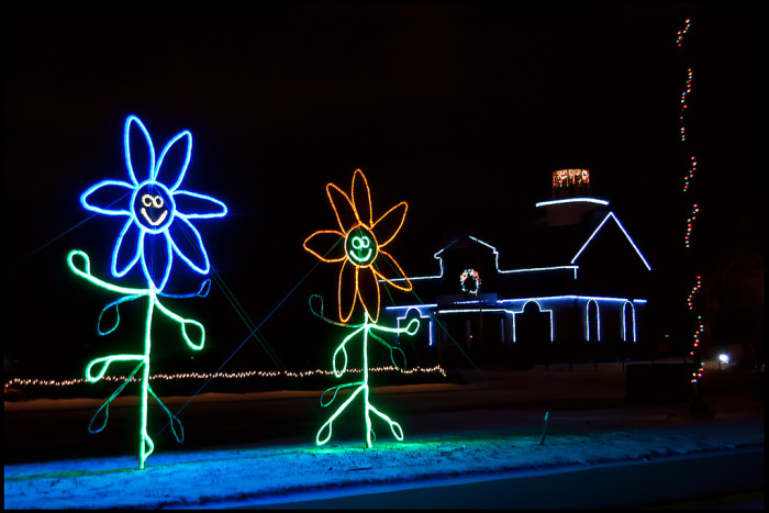 17. Here are some dancing flowers in front of the Old Michigan City Lighthouse.