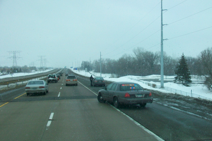 11) Pulling onto the shoulder to let another car pass.