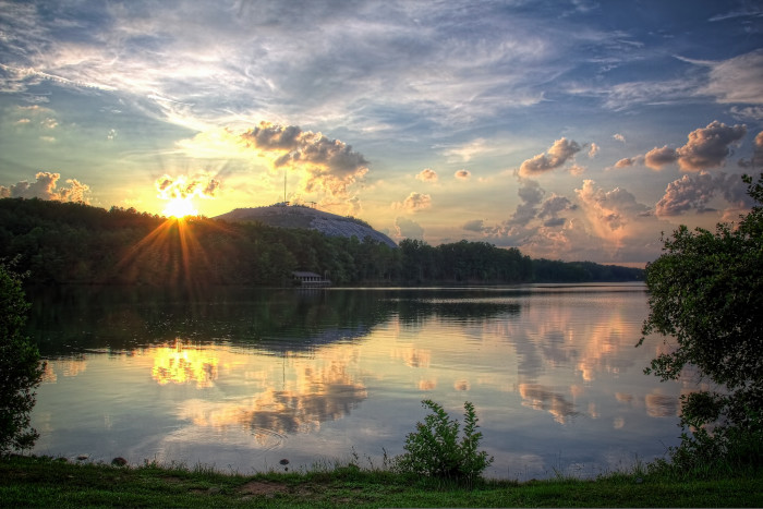 9. Sunset at Stone Mountain on the lake