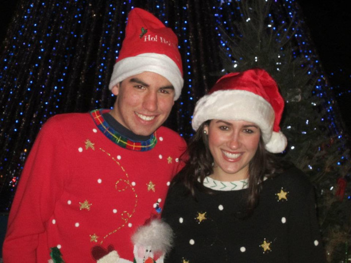 8. When you have to wear matching Christmas sweaters for a photo and you're sweating bullets.