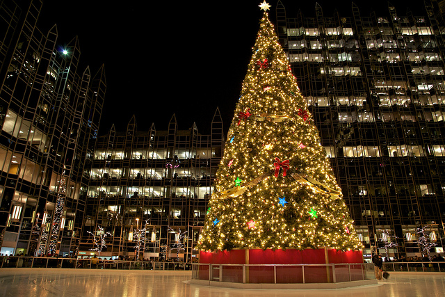 5. Of course, you don't HAVE to venture far outdoors for striking winter scenery. You can also venture to downtown Pittsburgh to see the PPG ice rink and Christmas tree.