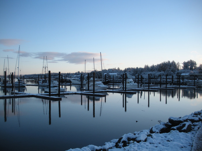 16. Bandon Harbor, transformed by snow.