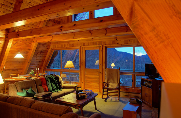7. Or nestled in a cabin in the mountains.