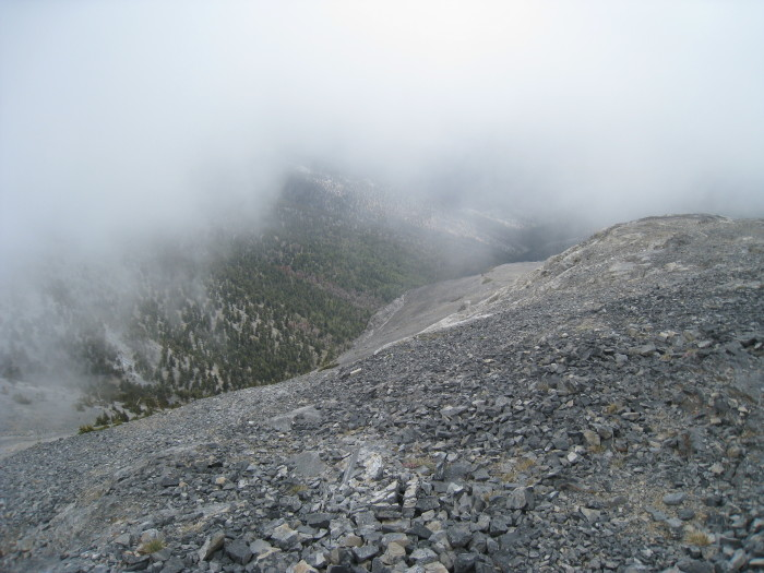 13. This foggy scene was captured from the top of a mountain at Great Basin National Park.