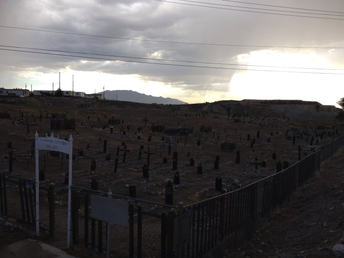 2. An eerie, creepy night view of Tonopah Cemetery.