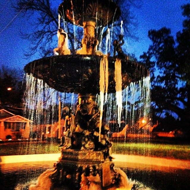 "8. A ""chilling"" shot of a frozen fountain at Natchez's Memorial Park."