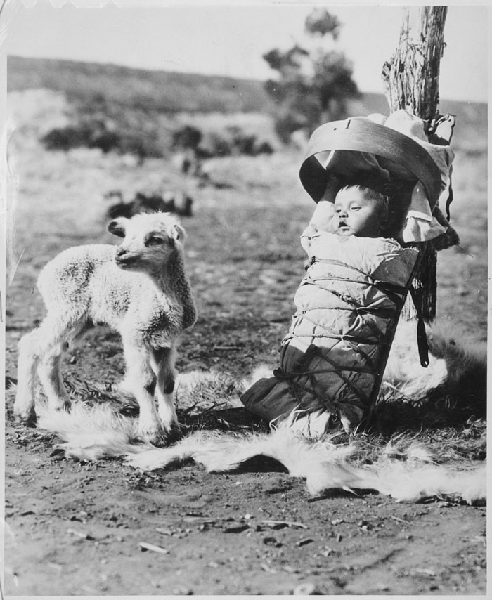 9. Two babies near Window Rock: a little lamb and a Navajo baby swaddled in a cradleboard in 1936.