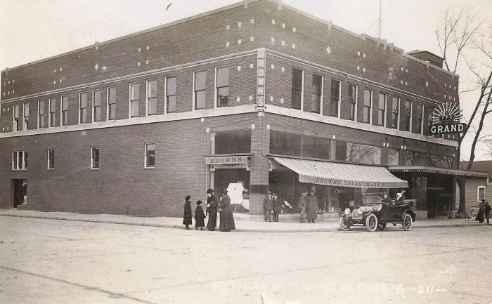 14. The street in front of the Grand Theatre and Brown's Department Store in Eldora was a busy place in January of 1915.