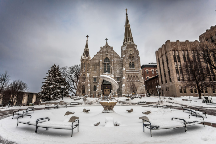 20. St. Johns Cathedral  on the Creighton campus looks rather regal in the snow.