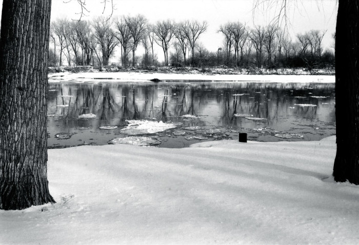 3. The Missouri River turns into a beautiful but frigid landscape in the winter.