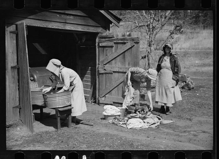 4. Washing clothes.