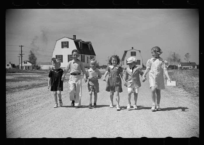 6. Here are some children heading home from school in 1936 in Decatur, Indiana.