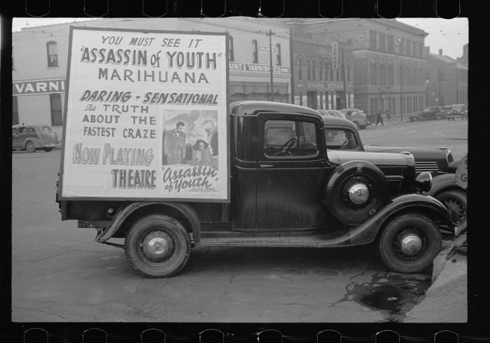 11. This truck in Omaha is carrying a poster for a film.