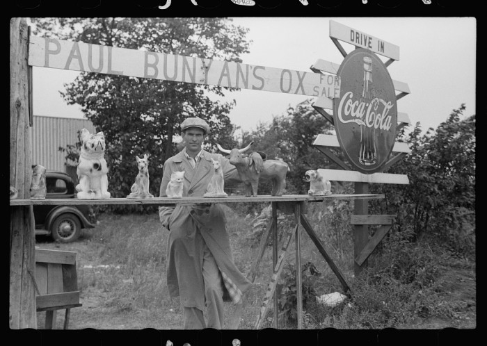 2. Paul Bunyan and his blue ox, Babe, always a part of MN history, are the stars of this roadside stand near Bemidji in 1939.