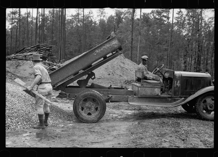 7. Truck dropping building materials, Grady County, Georgia - August 1935