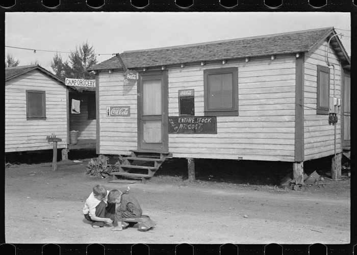 In a tourist camp for migratory agricultural workers near Belle Glade, Florida