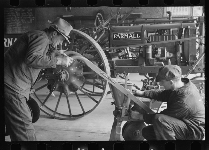 "13. ""Rehabilitation client looking over farm implements, Jackson, Ohio."""
