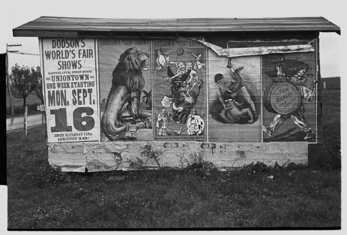 2. This 1935 billboard advertises a circus near Uniontown.