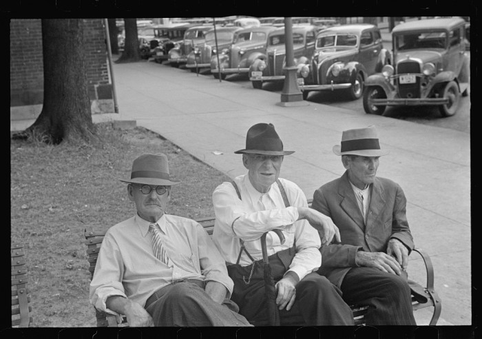 15. Men sitting on a bench in Springfield