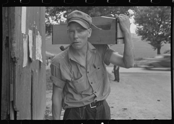 1. A carpenter takes a step outside in Westmoreland County in 1935.