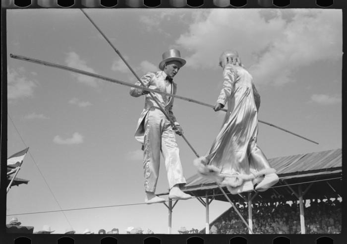 "8. ""Tightrope performers at 4-H Club fair, Cimarron, Kansas."" (1939)"