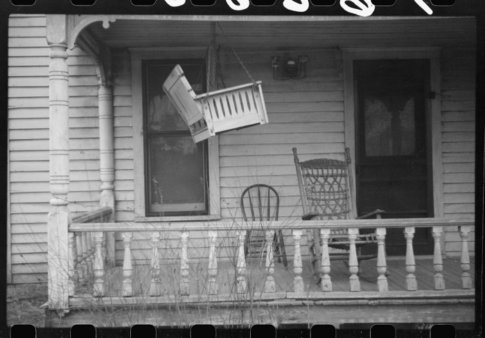 """8. """"Porch swing up for the winter."""""""
