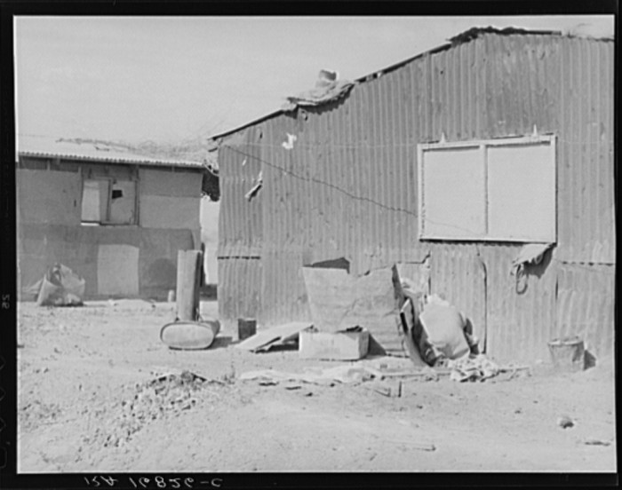 3. On the other hand, some were disheveled homes awkwardly pieced together. These ones were found in Casa Grande in May 1937 and were housing for cotton field laborers.