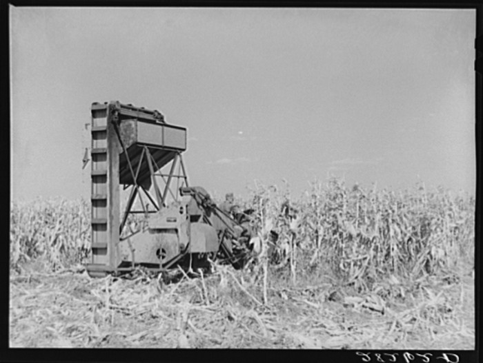 9. This mechanical corn picker at the Robinson farm in Marshall County was a pretty advanced piece of equipment at the time.