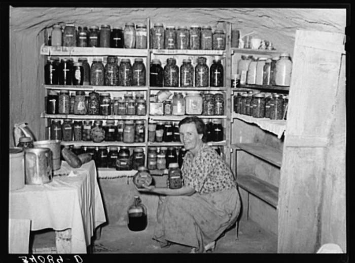 "5. ""Mrs. Schoenfeldt, FSA (Farm Security Administration) client, in Sheridan County, Kansas, in fruit cellar."""