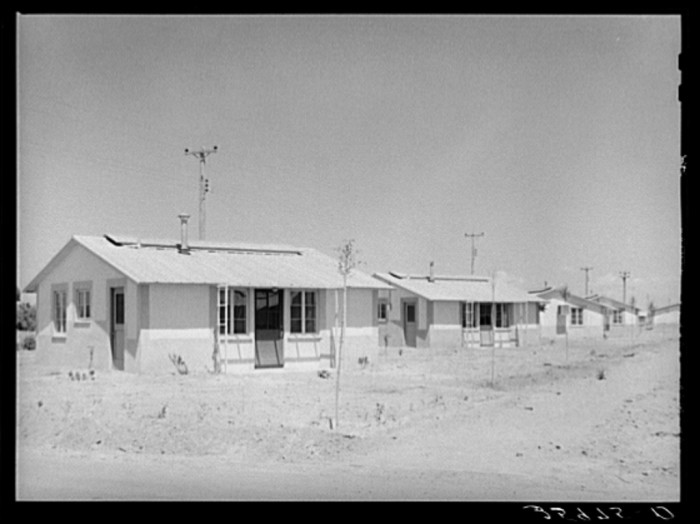 8. These migrant homes look less like shanties or sheds and were created for permanent agricultural workers in Agua Fria in 1940.
