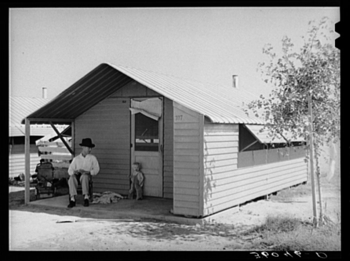 6. One of those homes up close. The homes were small and about the size of a shed you would find on most properties today.