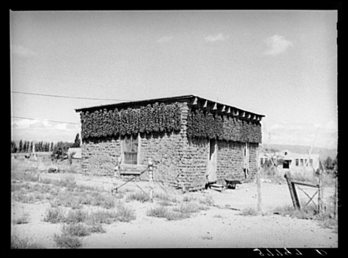 11. This adobe home, also located in Concho in 1940, has chiles drying all along the sides of the house.